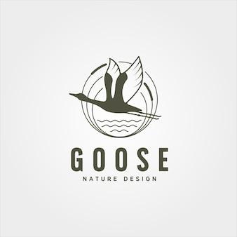フライングガチョウ川岸ロゴベクトルシンボルイラストデザイン、ヴィンテージガチョウのロゴデザイン
