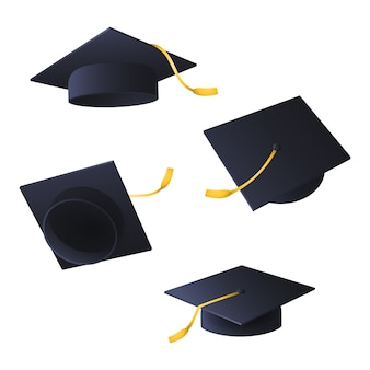 Flying graduation caps