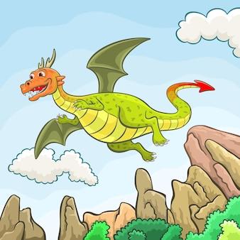 Flying green dragon vector illustration