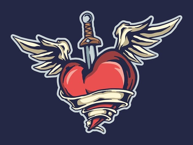 Flying heart and sword tshirt design