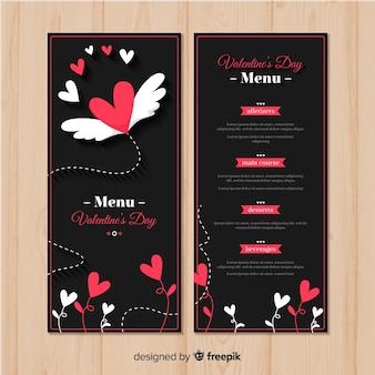 Flying heart valentine's day menu template