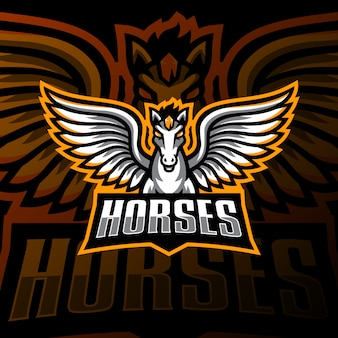 Flying horse mascot logo esport gaming