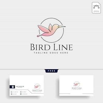Flying humming bird line art logo