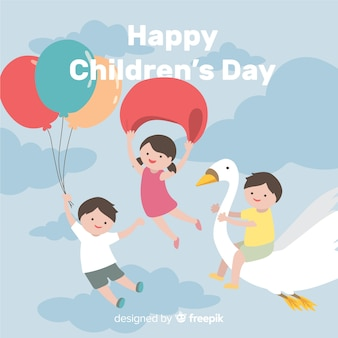 Flying kids childrens day background