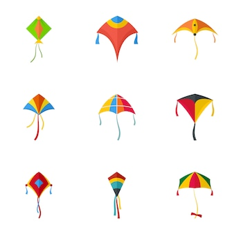 Flying kite icon set. flat set of 9 flying kite icons