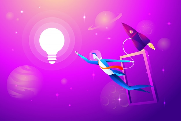 Летающая лампочка и ракета с бизнесменом пытаются схватить. бизнес-концепция
