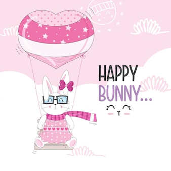 Flying little bunny with balloons
