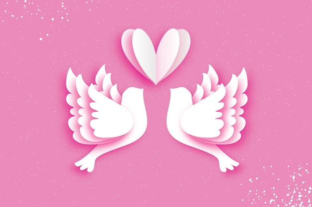 Flying love birds in paper cut style. a couple of doves in love.