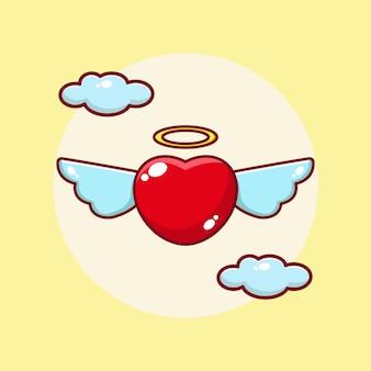 Летающая любовь мультфильм значок иллюстрации