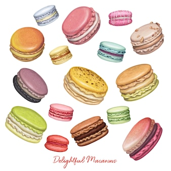 Flying macarons hand drawn illustration