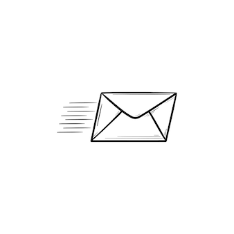 Flying mail hand drawn outline doodle icon. newsletter, mail delivery, sending and receiving message concept