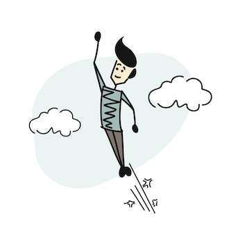 Flying man on blue sky background, cartoon hand drawn sketch vector background.