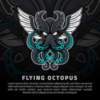Flying octopus illustration