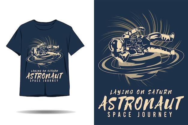 토성 우주 비행사 우주 여행 실루엣 tshirt 디자인에 비행