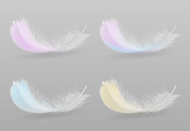 Летящая или падающая экзотическая птица разноцветных, пушистых перьев
