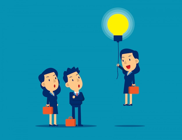 Flying out from the crowd by light bulb of ideas