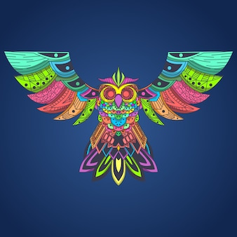 Flying owl colorfull pop art