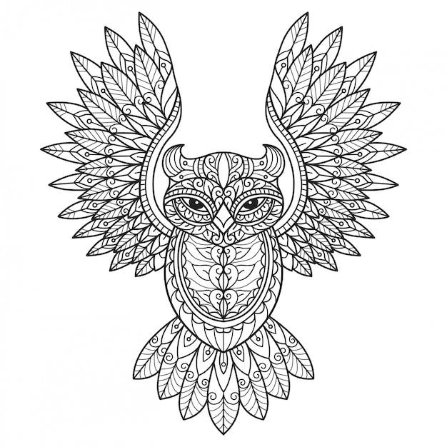 Flying owl. hand drawn sketch illustration for adult coloring book.