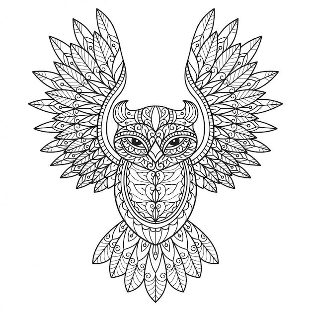 Летающая сова. нарисованная рукой иллюстрация эскиза для взрослой книжка-раскраски.