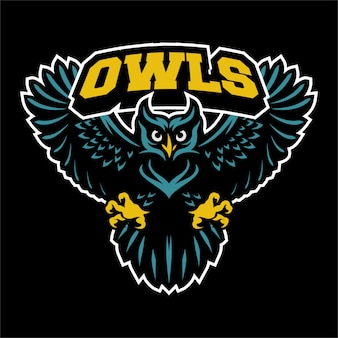 Flying owl logo mascot