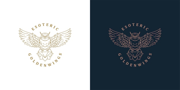 Flying owl with diamond logo template linear