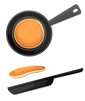 Летающие блины и сковорода. иллюстрация на белом фоне. значок завтрака.