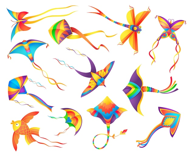 Flying paper kites decorated colorful ribbons set