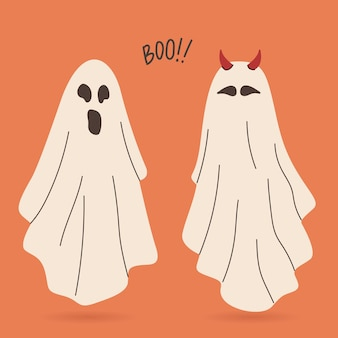 Flying phantoms halloween scary ghostly monsters cartoon characters