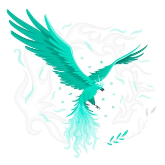 Flying phoenix concept illustration