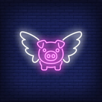 Flying pig cartoon character. neon sign element. night bright advertisement.