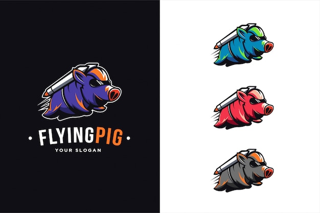Flying pig logo set