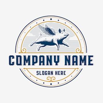 Летающая свинья винтажный логотип