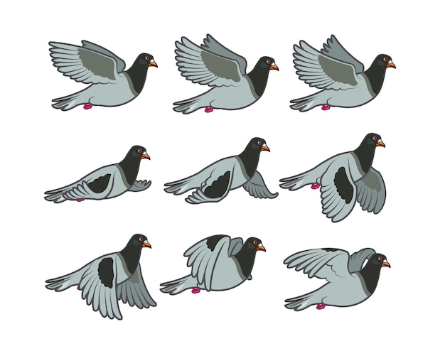 Flying pigeon cartoon animation sprite