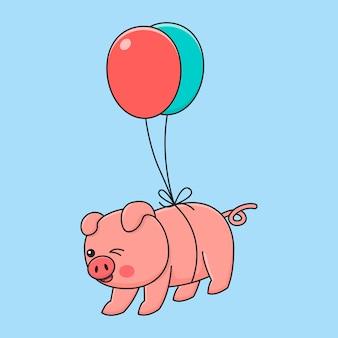 Летающий поросенок с воздушным шаром