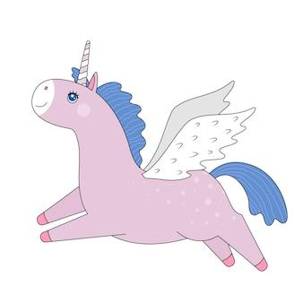 白い背景の上の翼を持つ空飛ぶピンクのユニコーン。ベクトルで作られました。はがき、ポスター、版画、表紙、お土産、子供用テキスタイル