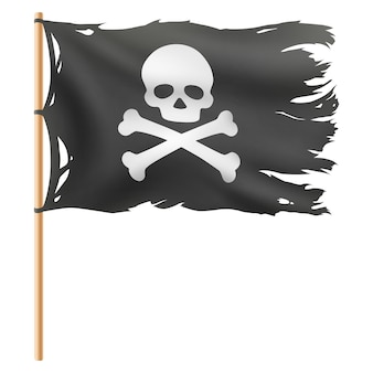 Flying pirate flag isolated on white