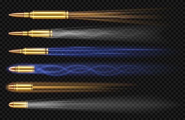Flying pistol bullets with smoke and fire traces. shooting gun slugs, military handgun shoot trails in motion, weapon metal shots, ammo isolated on transparent background, realistic 3d set