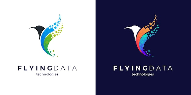 Flying pixel bird logo design with two color variants Premium Vector