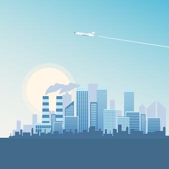 Flying plane over metropolis building.