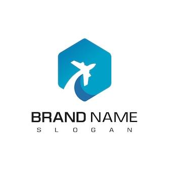 Flying plane for travel logo design template