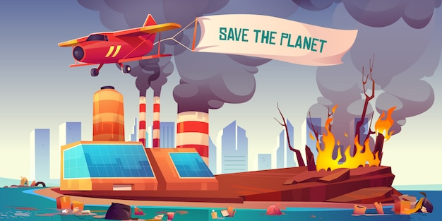 Flying plane with banner save the planet