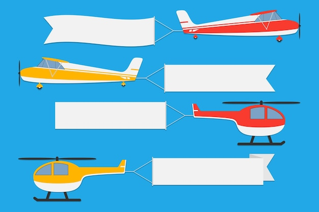 Flying planes and helicopters with banners set of advertising ribbons on blue background