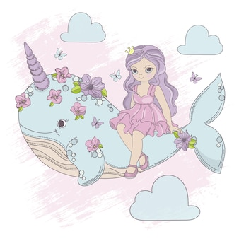 Flying princess unicorn whale cartoon