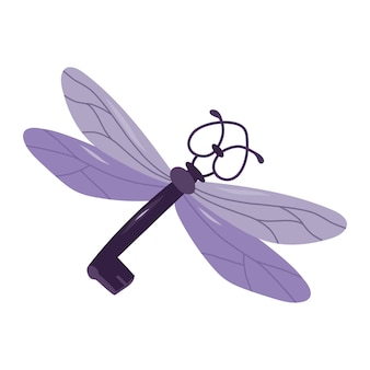 Flying purple key with wings.esoteric and mystical design element.vector hand drawn illustration.