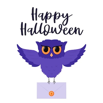 A flying purple owl holds an envelope with a pumpkin in its paws. handwritten words happy halloween.