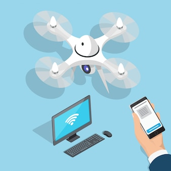 Flying quadcopter, компьютер, человек рука с телефоном