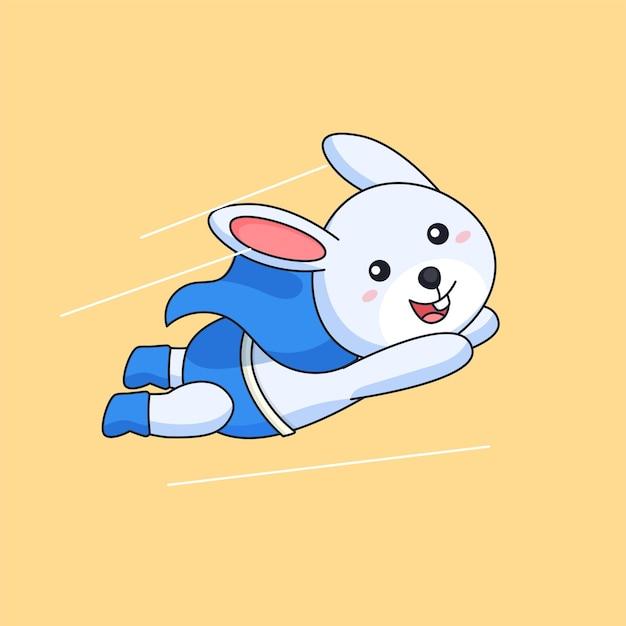 의상과 망토 동물 마스코트 만화 벡터 일러스트 레이 션을 입고 비행 토끼 슈퍼 영웅