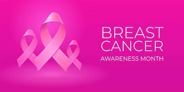 Flying realistic pink ribbons on light pink background with copy space. breast cancer awareness month typography. medical symbol in october.  illustration for banner, poster, invitation, flyer.