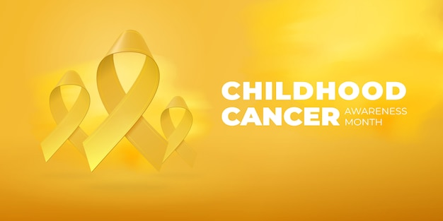 Flying realistic yellow ribbons on bright yellow background with copy space. childhood cancer awareness month typography. medical symbol in september.  illustration for banner, poster, flyer.