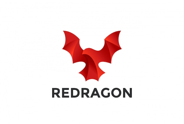 Flying red dragon logo icon.